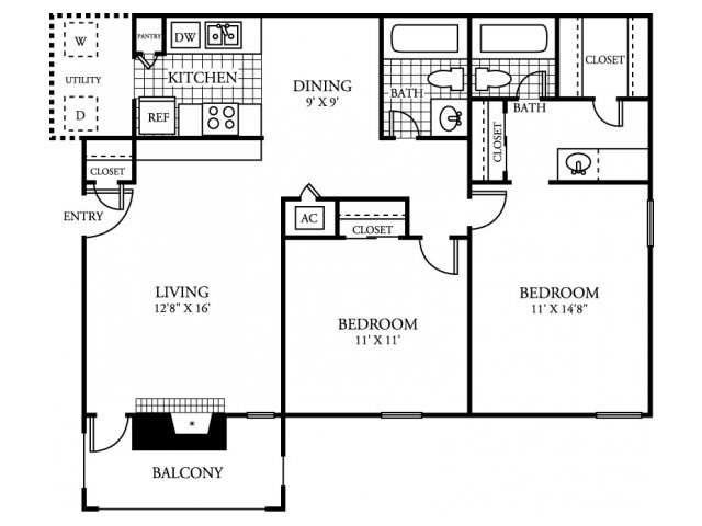 Bed 2 Bath Apartment In Bedford TX Meadows Of Bedford