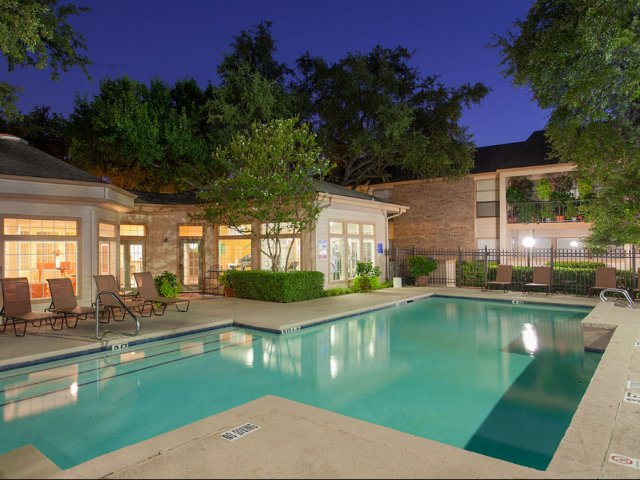 Preston Greens | Apartments For Rent in Dallas, TX | Community Pool at Night