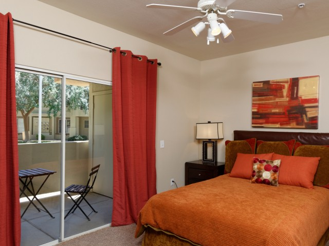 Finisterra Apartment Homes | Apartments in Tempe, Arizona | Bedroom with Patio
