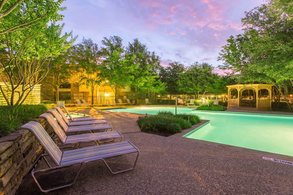 Woods of Bedford Apartments for Rent in Bedford, TX | Pool with Gazebo