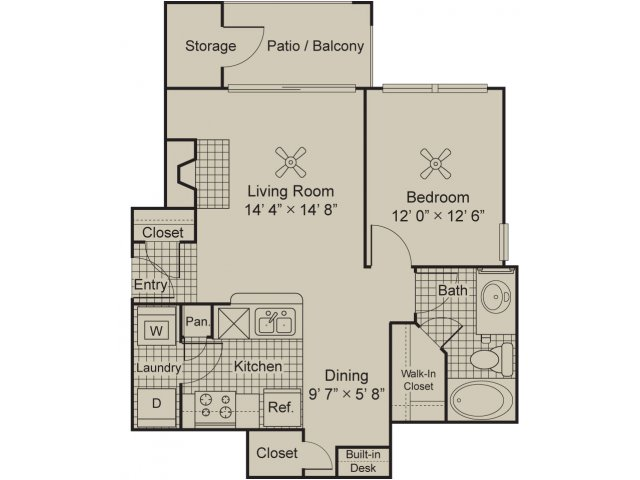 Foundations by the Vineyard Apartments Malbec A1.1 1 bed 1 bath floor plan