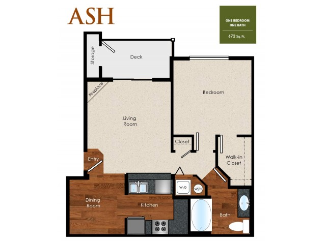 Ash, 1 Bedroom, 1 Bathroom