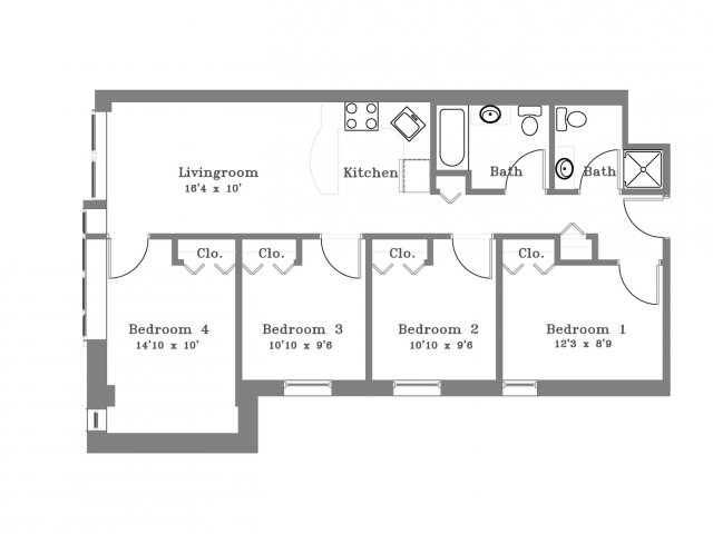 Floor Plan - 4 Bedroom Apartment - Collegetown - Ithaca NY