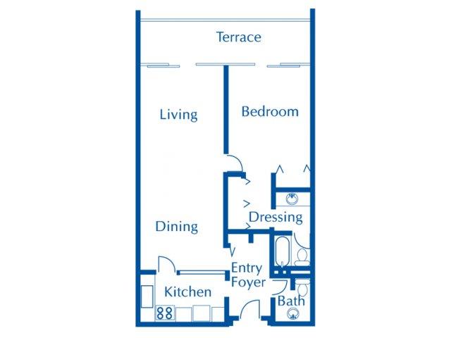 Van Buren 1 bedroom 1.5 bathroom apartments for rent floor plan Tucson, AZ