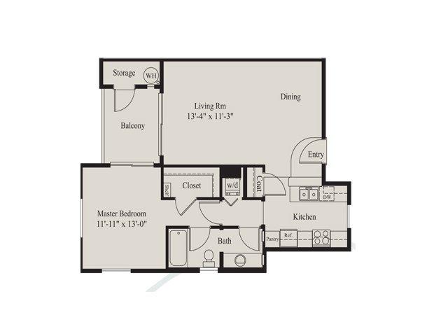 Ridge at Clearcreek 1 bedroom 1 bathroom apartments for rent floor plan Flagstaff, AZ