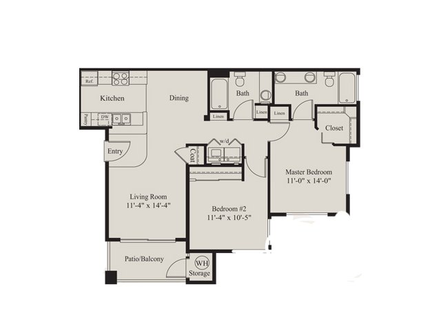 Ridge at Clearcreek 2 bedroom 2 bathroom apartments for rent floor plan Flagstaff, AZ