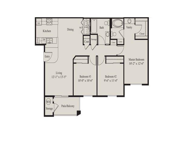 Ridge at Clearcreek 3 bedroom 2 bathroom apartments for rent floor plan Flagstaff, AZ