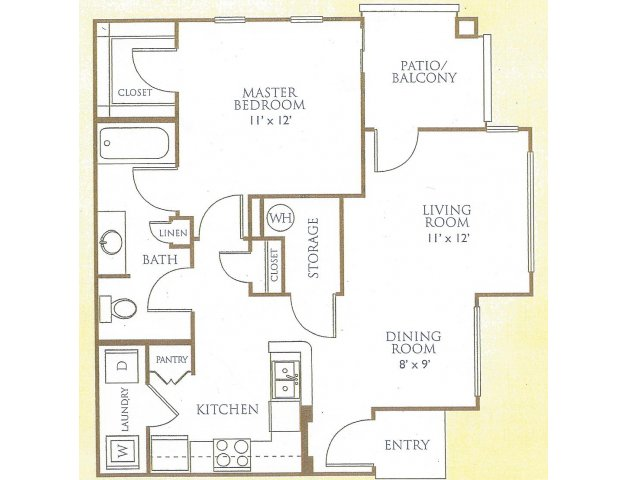 Westover Parc 1 bedroom 1 bathroom apartments for rent floor plan Phoenix, AZ