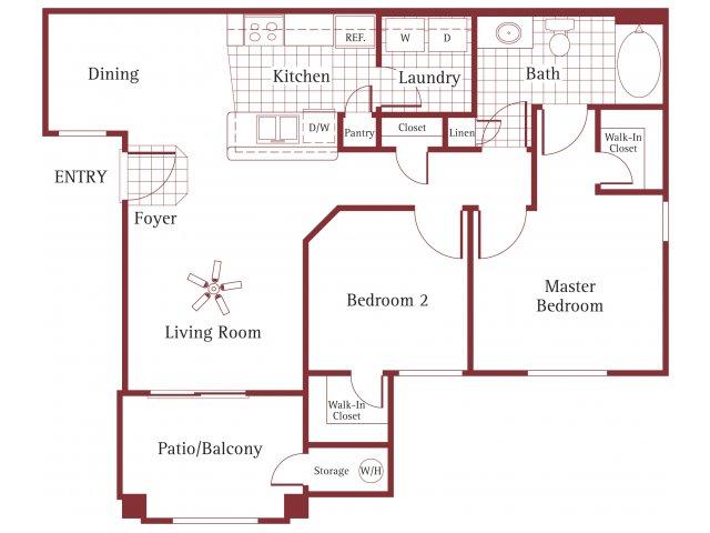 La Borgata 2 bedroom 1 bathroom apartments for rent floor plan Surprise  AZ. 1  2   3 Bedroom Apartments in Surprise  AZ   La Borgata Apartments