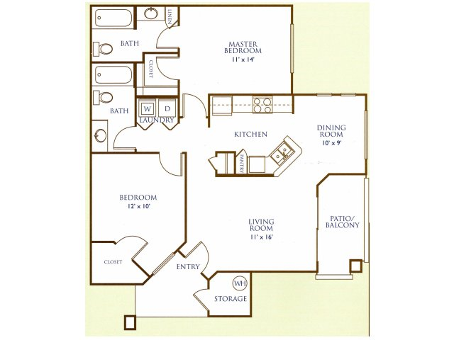 Westover Parc 2 bedroom 2 bathroom apartments for rent floor plan Phoenix, AZ