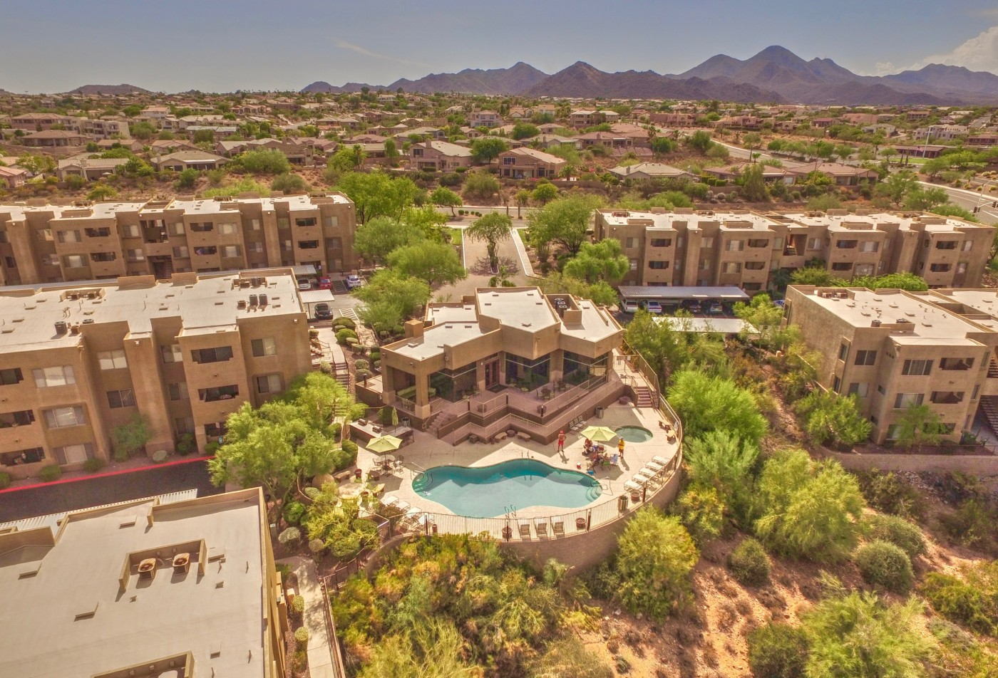 Ridge View Apartments Fountain Hills, AZ aerial view pool exterior and landscaping