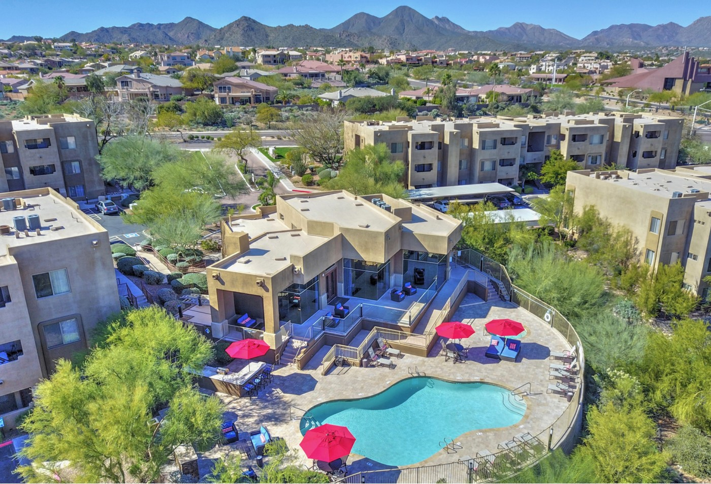 Arrial view of Ridge View Apartments in Fountain Hills, AZ