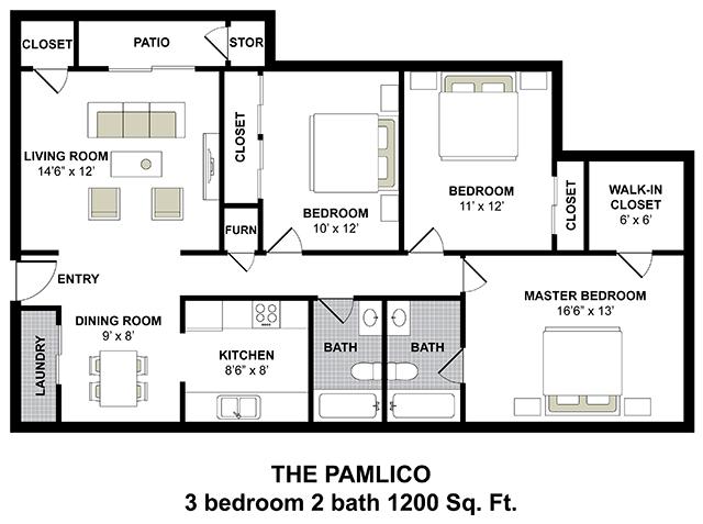 3 Bedroom 2 Bath Apartments