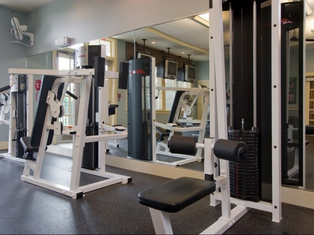 Image of State-of-the-art fitness center including free weights, treadmills, elliptical trainers & more for Windsor Village at Waltham