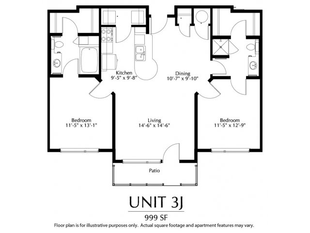 2 bed bath apartment in denver co the district for Dual master bedroom floor plans
