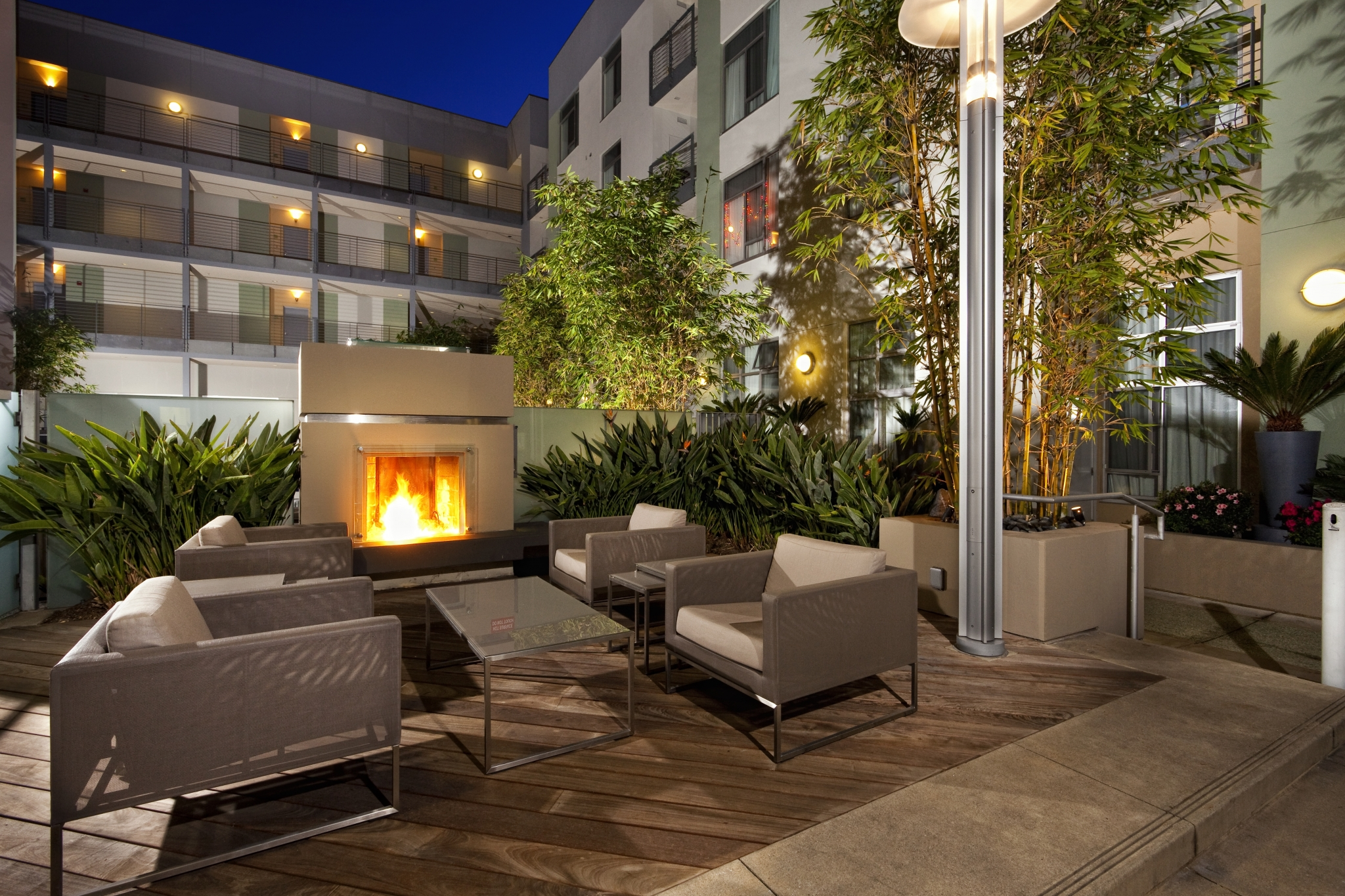 Outdoor patio at Sunset and Vine Apartments in Hollywood CA