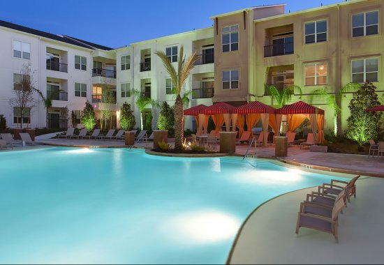 Resort-style swimming pool at Domain by Windsor Apartments in Houston TX