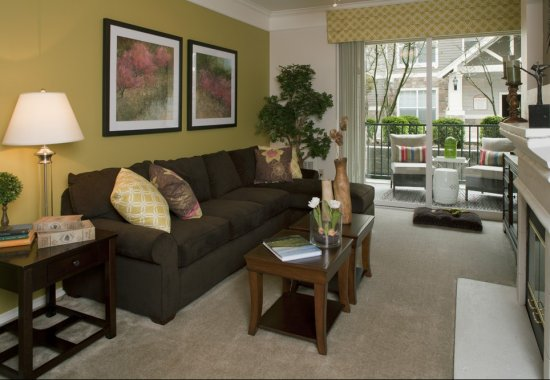 Model living room at Reflections by Windsor Apartments in Redmond WA