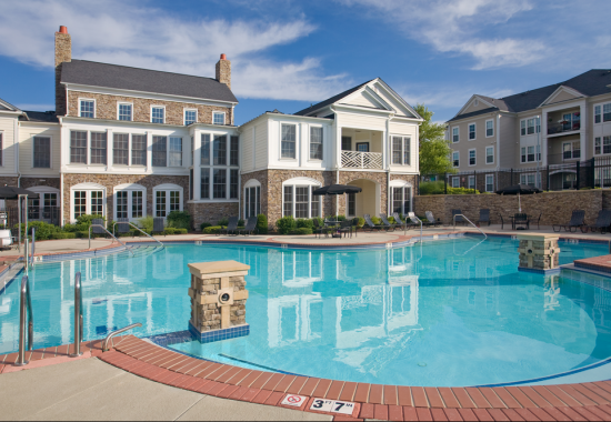 Pool area at Windsor at Harpers Crossing Apartments in Langhorne PA