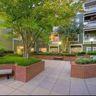 View of courtyard at Windsor at Arbors Apartments in Alexandria VA