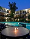 Nighttime view of the pool at Allen House Apartments in Houston TX