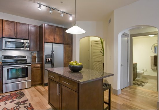 Spacious model kitchen at The Monterey by Windsor Apartments in Dallas TX