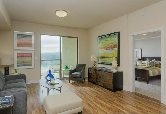 Model living room at Windsor on the Lake Apartments in Downtown Austin