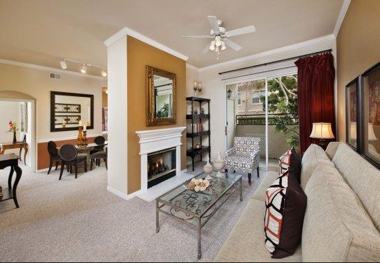 Model living room at Windsor at Aviara Apartments in Carlsbad CA