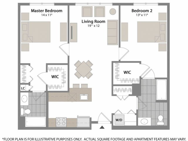 With bedrooms situated on either side of the apartment and  two full bathrooms, this is the perfect floor plan for roommates.  The apartment features 5 closets in total!