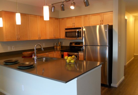 Modern kitchen at Tera Apartments in Kirkland WA