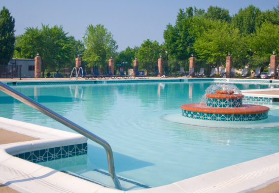 Outdoor swimming pool at Windsor at Fieldstone Apartments in Leesburg VA