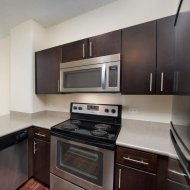 Gourmet kitchens at Renaissance Tower Apartments in Downtown Los Angeles