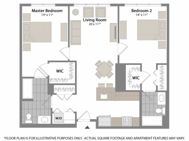 This floor plan is great for those needing closet space! Each bedroom has plentiful storage space and attached bathrooms that offer plenty of counter space and drawers.