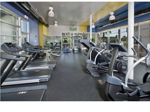 Fitness center at Sunset and Vine Apartments in Hollywood CA