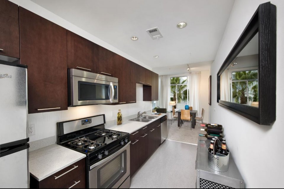 View of model kitchen at Sunset and Vine Apartments in Hollywood CA