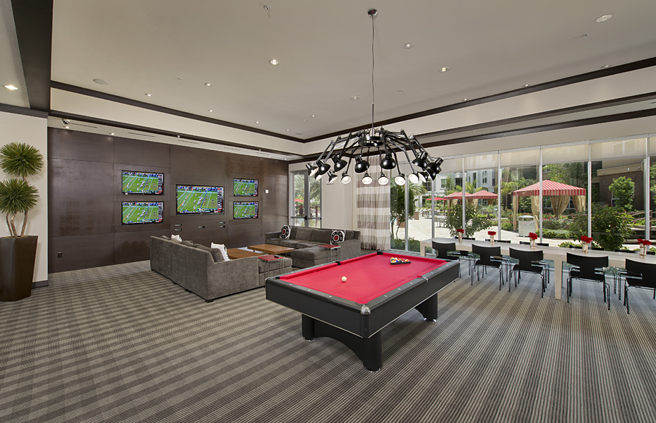 Game room at Domain by Windsor Apartments in Houston TX