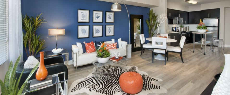 View of living area at Boardwalk by Windsor Apartments in Huntington Beach CA