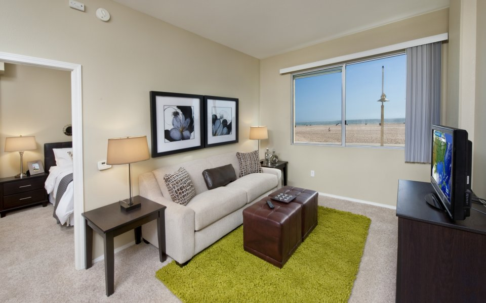 Model living room at Sea Castle Apartments in Santa Monica CA