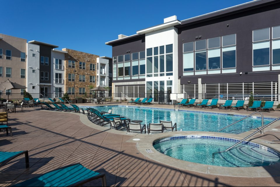 Outdoor pool at Element 47 by Windsor Apartments in Denver CO