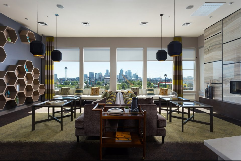 View of community room at Element 47 by Windsor Apartments in Denver CO
