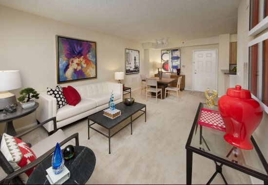 Living room at Windsor at Shirlington Village Apartments in Arlington VA