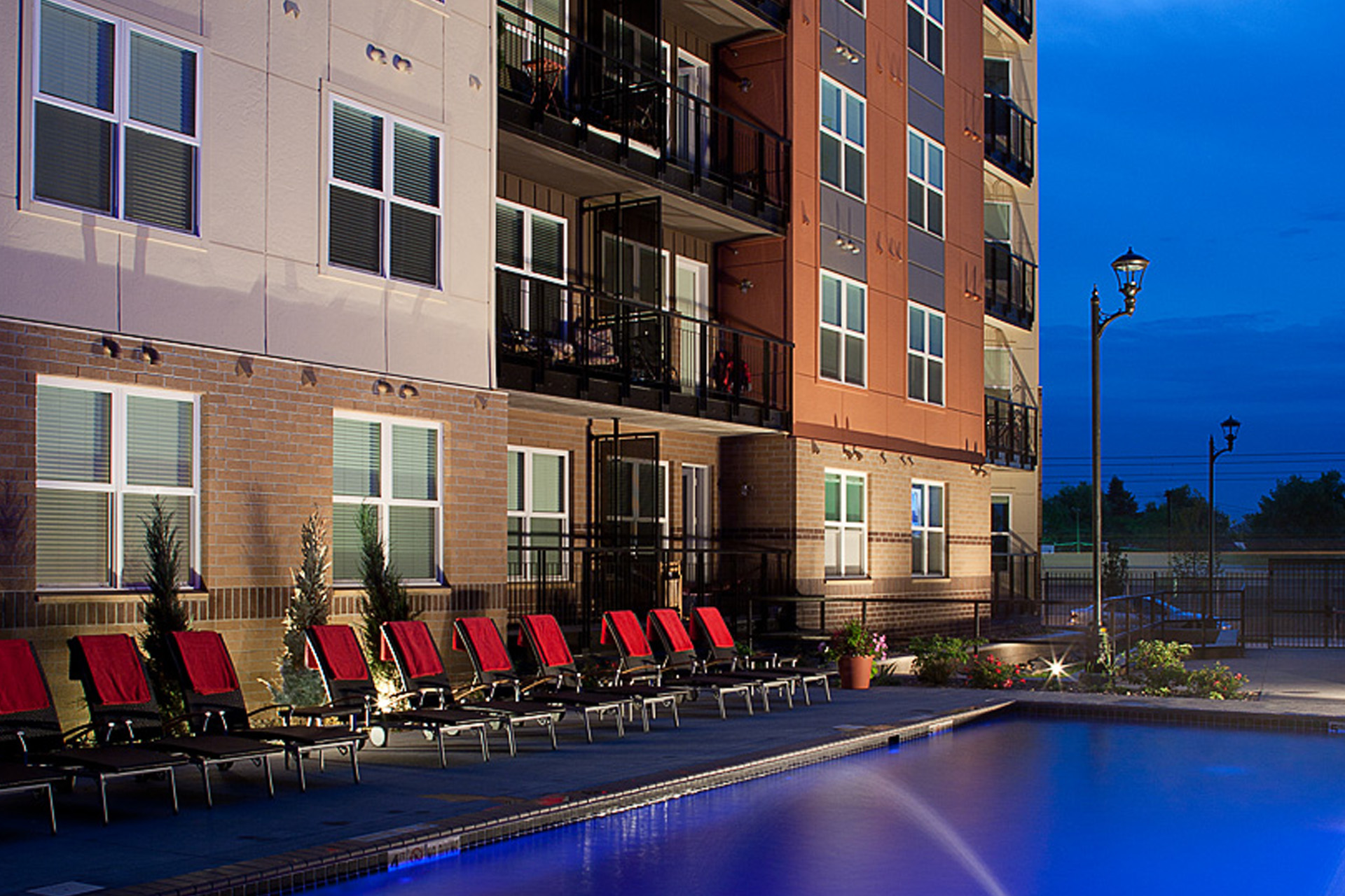 Pool area at Windsor at Broadway Station Apartments in Downtown Denver