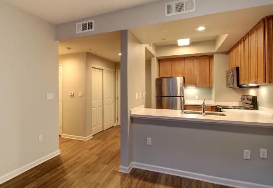View of model kitchen at Villa Montanaro Apartments in Pleasant Hill CA