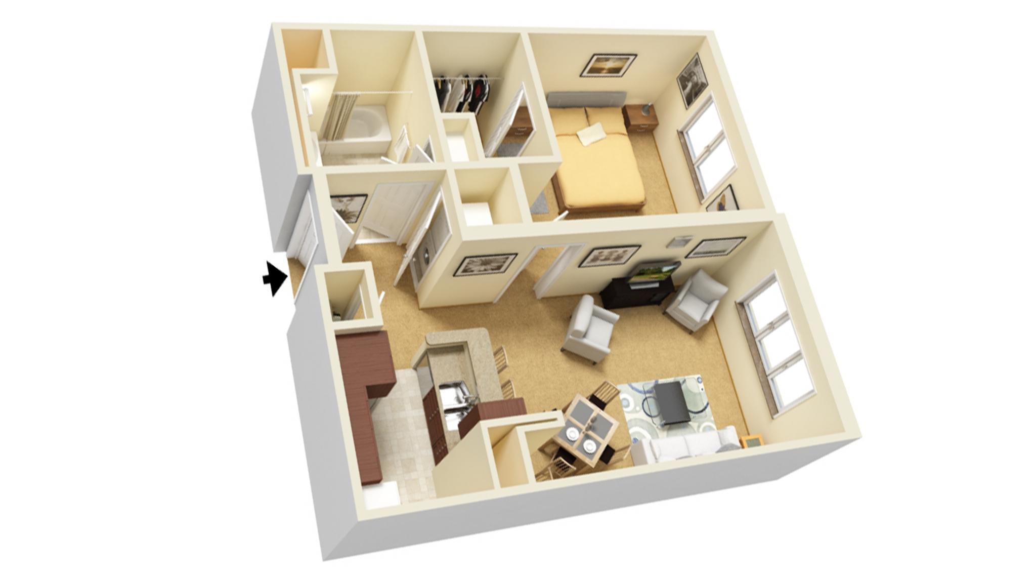 One Bedroom A floor plan