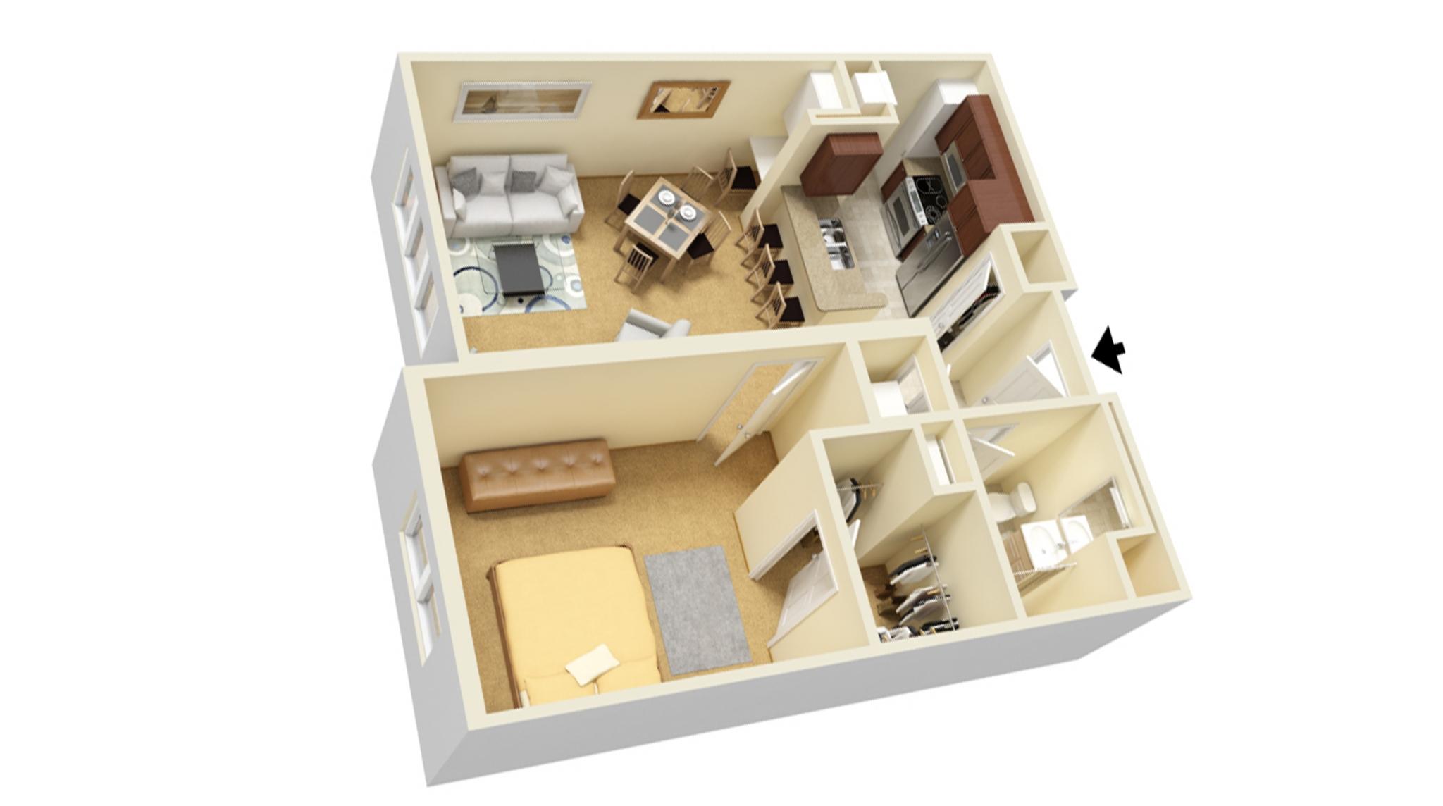 One Bedroom B floor plan