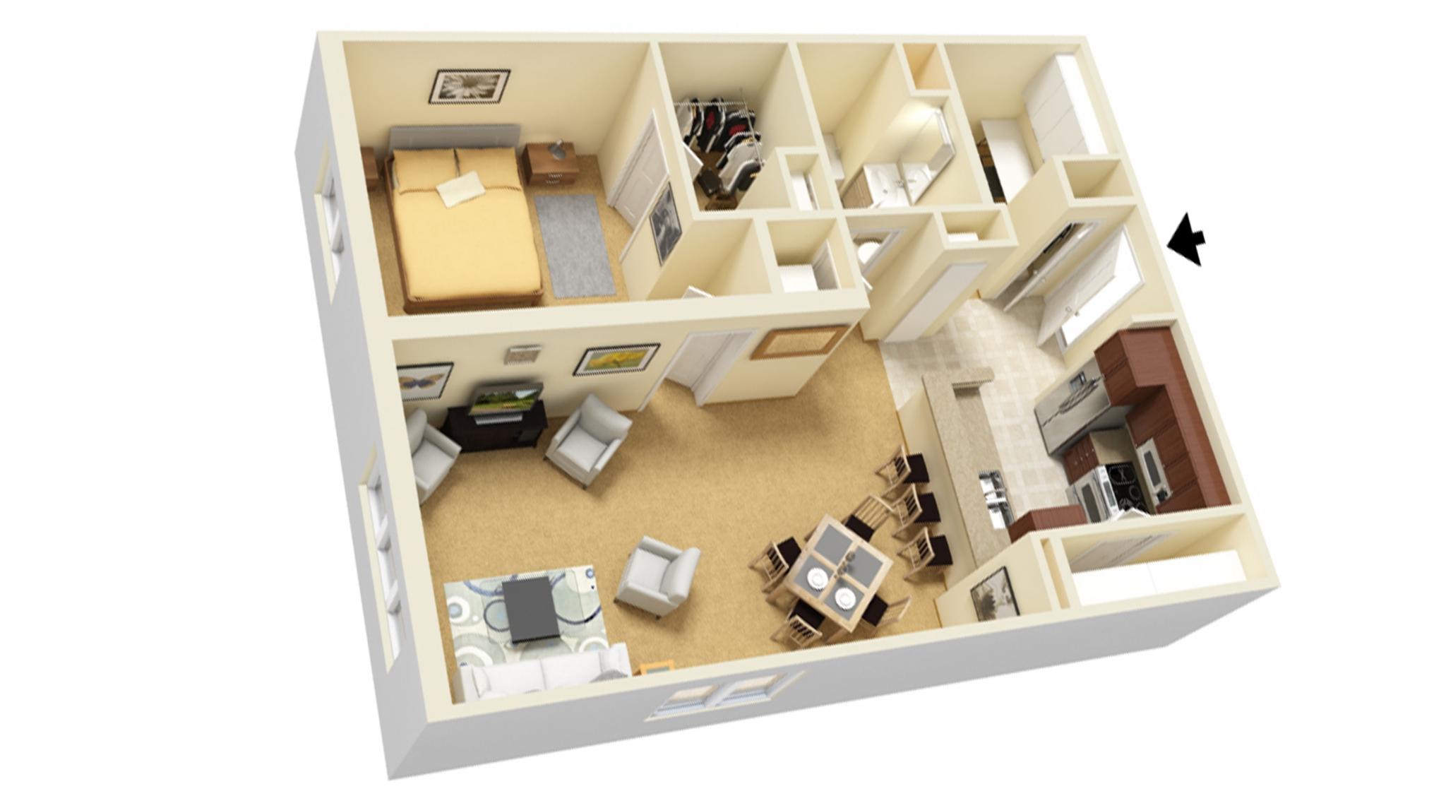 One Bedroom C with Study floor plan