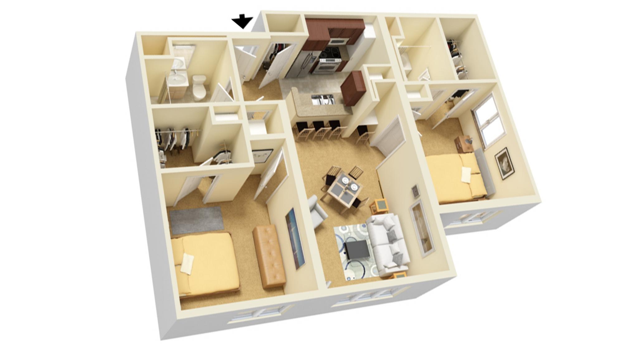 2 Bedroom B floor plan