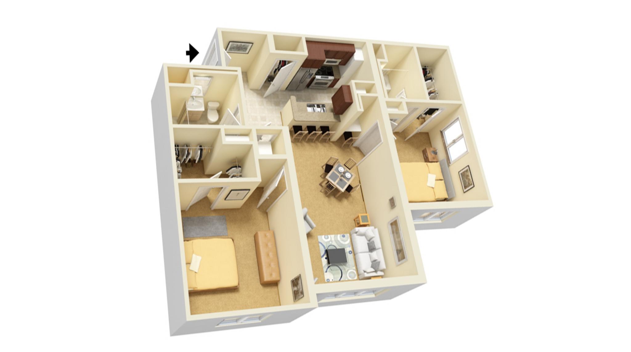 Two Bedroom C floor plan