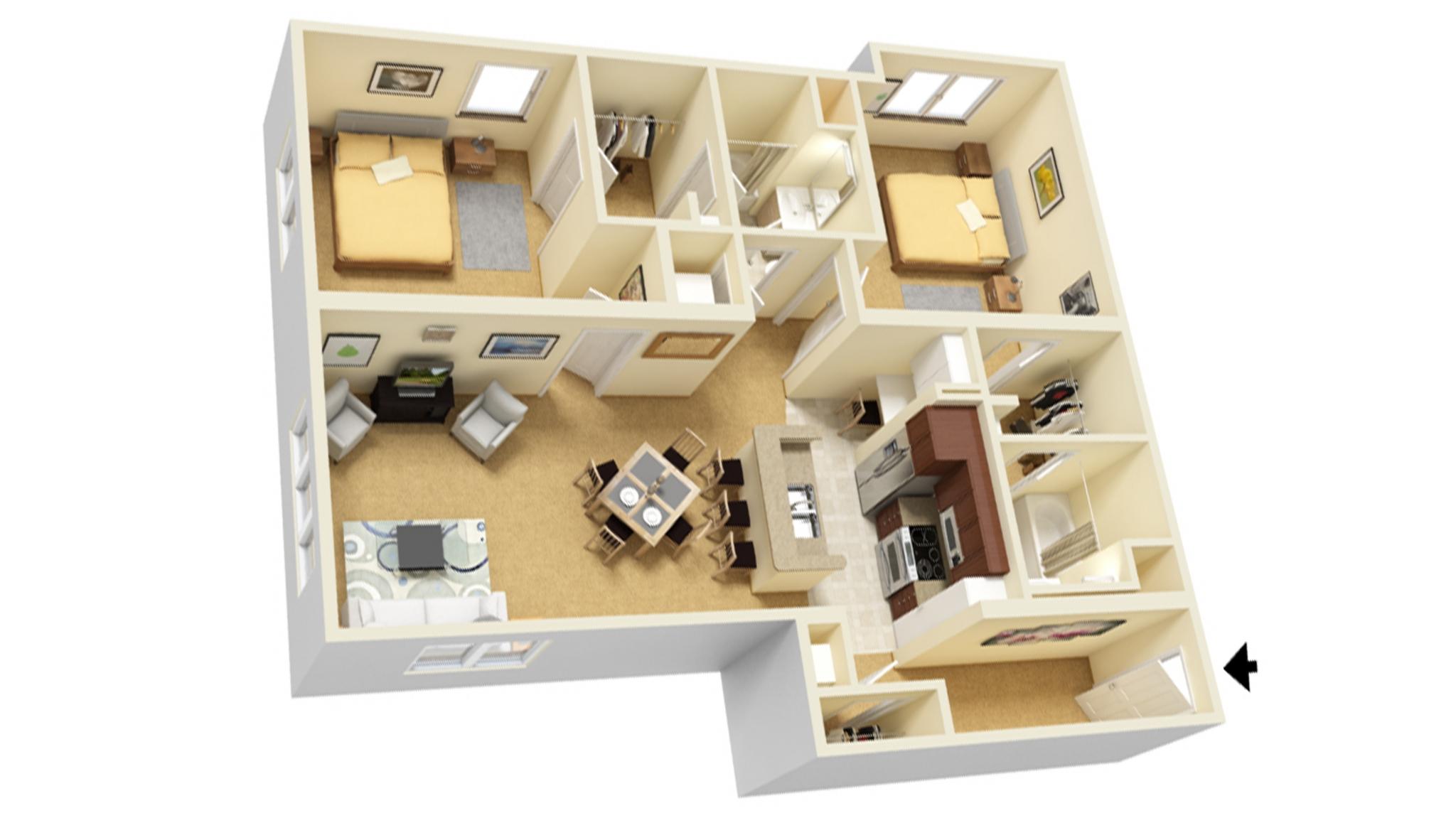 2 Bedroom D floor plan