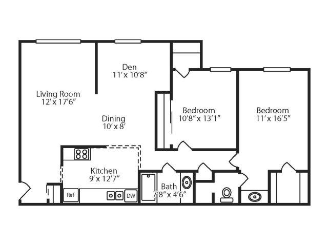 2 Bedroom, 2 Bath with Den